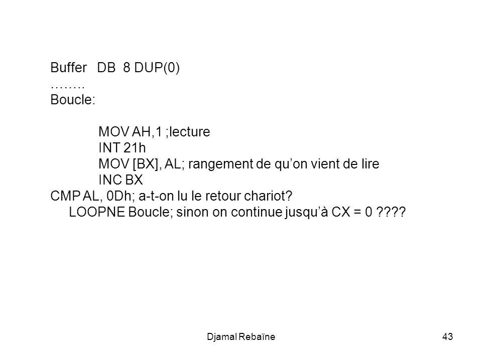 MOV [BX], AL; rangement de qu'on vient de lire INC BX